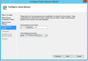 Figure 2. Entering the account information for the cloud witness