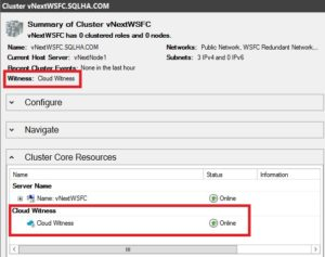 Figure 3. Cloud witness and how it looks in Failover Cluster manager