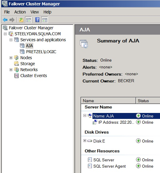 Figure 3. Failover Cluster Manager in Windows Server 2008 R2