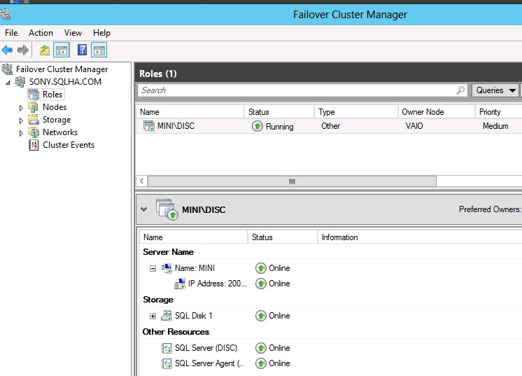 Figure 4. Failover Cluster Manager in Windows Server 2012